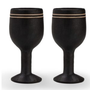 Buy Designer Black Wine Glass Set-Black Pottery