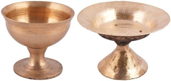 Ethnic Soup Bowl With Stand and Small Tray With Stand-Bell Metal