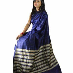 Ghisa Silk Mekhela Chador Handwoven - Blue & Cream