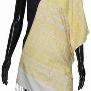 Buy Online Desginer Silk Shawl (White-Yellow)