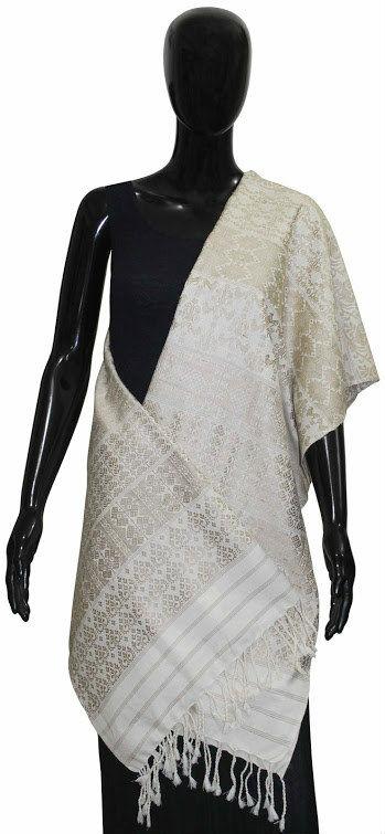 Buy Designer Ethnic Handwoven Silk Shawl(White)