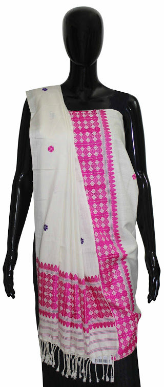 Buy 100% Genuine  Handwoven Eri Silk Shawl With Pink and Off White Color Combination Online