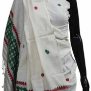Buy Eri Silk Shawl With Green And White Color Combination