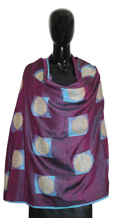 Buy 100 % Pure Dyed Eri Silk Shawl