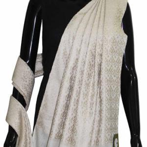 Buy Designer Handwoven Silk Shawl-White Color
