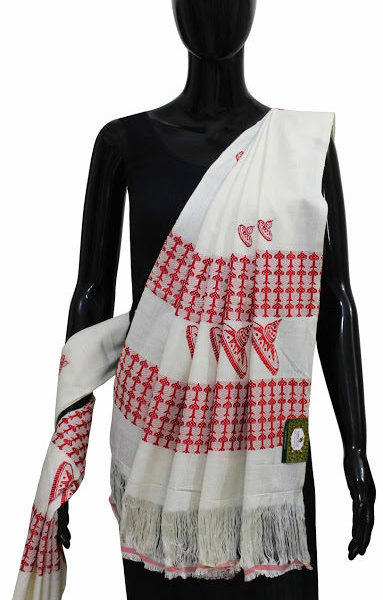 Buy 100% Genuine Designer Handwoven Eri Silk Shawl With Assamese Traditional Touch Online