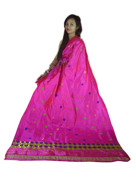 Buy 100% Genuine  Handwoven Assam Pat Silk Mekhela Chador-Pink Online