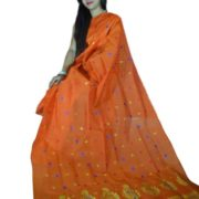 Buy 100% Genuine Handwoven Designer Pat Silk Mekhela Sador-Orange Online
